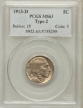 Buffalo Nickels: , 1913-D 5C Type Two MS63 PCGS. PCGS Population (248/516). NGCCensus: (145/324). Mintage: 4,156,000. Numismedia Wsl. Price f...