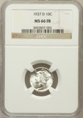 Mercury Dimes: , 1937-D 10C MS66 Full Bands NGC. NGC Census: (283/148). PCGSPopulation (555/221). Mintage: 14,146,000. Numismedia Wsl. Pric...