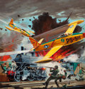 Pulp, Pulp-like, Digests, and Paperback Art, FREDERICK BLAKESLEE (American, 1898-1973). War Planes Overhead,Fighting Aces pulp magazine cover. Oil on canvas board. ...