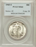 Walking Liberty Half Dollars: , 1945-S 50C MS64 PCGS. PCGS Population (4543/4535). NGC Census:(2752/3426). Mintage: 10,156,000. Numismedia Wsl. Price for ...