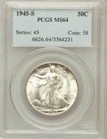 Walking Liberty Half Dollars: , 1945-S 50C MS64 PCGS. PCGS Population (4543/4535). NGC Census:(2756/3428). Mintage: 10,156,000. Numismedia Wsl. Price for ...