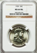 Franklin Half Dollars: , 1959 50C MS64 Full Bell Lines NGC. NGC Census: (360/215). PCGSPopulation (2420/805). Numismedia Wsl. Price for problem fr...