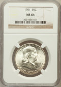Franklin Half Dollars: , 1951 50C MS64 NGC. NGC Census: (701/857). PCGS Population(1298/736). Mintage: 16,859,602. Numismedia Wsl. Price forproble...