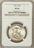 Franklin Half Dollars: , 1952-S 50C MS64 NGC. NGC Census: (640/1216). PCGS Population(1348/1728). Mintage: 5,526,000. Numismedia Wsl. Price for pro...