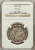 Barber Half Dollars: , 1900 50C VF20 NGC. NGC Census: (5/272). PCGS Population (10/427).Mintage: 4,762,912. Numismedia Wsl. Price for problem fre...