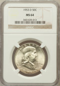 Franklin Half Dollars: , 1953-D 50C MS64 NGC. NGC Census: (690/401). PCGS Population(791/141). Mintage: 20,900,400. Numismedia Wsl. Price for probl...