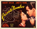 """Movie Posters:Drama, Private Number (20th Century Fox, 1936). Half Sheet (22"""" X 28"""")Style A.. ..."""