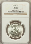 Franklin Half Dollars: , 1955 50C MS66 NGC. NGC Census: (120/1). PCGS Population (73/0).Mintage: 2,400,000. Numismedia Wsl. Price for problem free ...