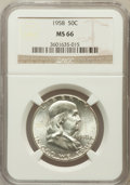 Franklin Half Dollars: , 1958 50C MS66 NGC. NGC Census: (918/29). PCGS Population (1492/34).Mintage: 4,000,000. Numismedia Wsl. Price for problem f...