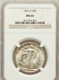 Walking Liberty Half Dollars: , 1941-D 50C MS64 NGC. NGC Census: (1266/3491). PCGS Population(2252/5399). Mintage: 11,248,400. Numismedia Wsl. Price for p...