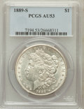 Morgan Dollars: , 1889-S $1 AU53 PCGS. PCGS Population (167/7503). NGC Census:(117/4808). Mintage: 700,000. Numismedia Wsl. Price for proble...