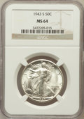 Walking Liberty Half Dollars: , 1943-S 50C MS64 NGC. NGC Census: (2377/1815). PCGS Population(3457/3056). Mintage: 13,450,000. Numismedia Wsl. Price for p...