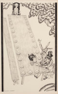 Mainstream Illustration, WILLY POGANY (Hungarian/American, 1882-1955). Alice at the Tablewith Hatter and Rabbit, Alice's Adventures in Wonderland ...