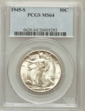 Walking Liberty Half Dollars: , 1945-S 50C MS64 PCGS. PCGS Population (4540/4502). NGC Census:(2743/3423). Mintage: 10,156,000. Numismedia Wsl. Price for ...