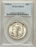 Walking Liberty Half Dollars: , 1945-S 50C MS64 PCGS. PCGS Population (4530/4494). NGC Census:(2735/3427). Mintage: 10,156,000. Numismedia Wsl. Price for ...