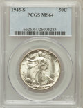 Walking Liberty Half Dollars: , 1945-S 50C MS64 PCGS. PCGS Population (4542/4521). NGC Census:(2752/3426). Mintage: 10,156,000. Numismedia Wsl. Price for ...