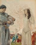 Mainstream Illustration, WILLIAM RUSSELL (SIR WILLIAM) FLINT (British/Scottish, 1880-1969).Scene from Sir Thomas Malory, Le Morte D'Arthur, Sir Tr...