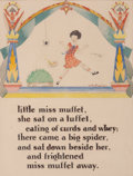 Mainstream Illustration, WILLY POGANY (Hungarian/American, 1882-1955). Little MissMuffet, Willy Pogany's Mother Goose book illustration, circa1...