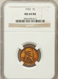 Lincoln Cents: , 1932 1C MS64 Red and Brown NGC. NGC Census: (53/39). PCGSPopulation (69/45). Mintage: 9,062,000. Numismedia Wsl. Pricefor...