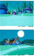 Animation Art:Production Drawing, The Smurfs Production Backgrounds (Hanna-Barbera, 1980s)....(Total: 2 )