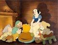"Animation Art:Production Cel, Snow White and the Seven Dwarfs ""Some Day My Prince WillCome"" Production Cel With Hand-Painted Background (Walt Disne..."