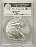 Modern Bullion Coins, 2012(-W) $1 One Ounce Silver Eagle Struck at West Point , Insertautographed By John M. Mercanti,12th Chief Engraver of the U...