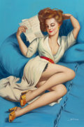 Pin-up and Glamour Art, AMERICAN ARTIST (20th Century). The Love Letter, copy of GilElvgren's original painting. Oil on canvas. 36 x 24 in.. Si...