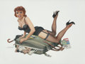 Pin-up and Glamour Art, REN WICKS (American, 1911-1998). It Won't Fit!. Acrylic onboard. 20 x 27.5 in.. Signed lower left. ...