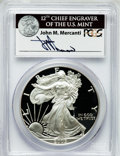 Modern Bullion Coins, 2005-W $1 One Ounce Silver Eagle Insert autographed By John M.Mercanti,12th Chief Engraver of the U.S. Mint, PR70 Deep Cameo...