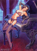 Pin-up and Glamour Art, GREG HILDEBRANDT (American, b. 1939). Singing the Blues.Mixed media on board. 20 x 16 in.. Signed lower left. ...