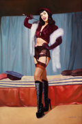Pin-up and Glamour Art, CELESTE V. (American, 20th Century). Vixen Bettie Page. Oilon canvas. 36 x 23.75 in.. Signed lower right. ...