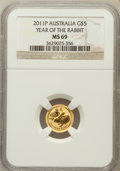 Australia, 2011-P G$5 Year of the Rabbit MS69 NGC. ...