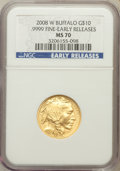 Modern Bullion Coins, 2008-W $10 Buffalo Early Releases MS70 NGC. Ex: .9999 Fine. NGCCensus: (0). PCGS Population (233)....