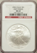 Modern Bullion Coins, 2006 $1 One Ounce Silver Eagle First Strikes MS69 NGC. NGC Census:(63162/2228). PCGS Population (138866/346)....