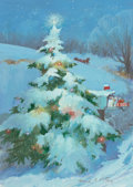 Mainstream Illustration, GEORGE EDWARD PORTER (American, b. 1916). Christmas Scene, TheNorcross Greeting Card Collection. Gouache and tempera on...