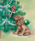 Mainstream Illustration, M. COOPER (American, 20th Century). Cocker Spaniel by theChristmas Tree, The Norcross Greeting Card Collection. Mixedm...