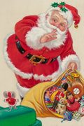 Mainstream Illustration, AMERICAN ARTIST (20th Century). Santa with Toy Bag, The NorcrossGreeting Card Collection. Watercolor and gouache on boa...