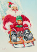 Mainstream Illustration, RUDY NAPPI (American, b. 1923). Santa and Boy On Sled, TheNorcross Card Greeting Card Collection. Gouache and temperao...