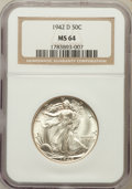 Walking Liberty Half Dollars: , 1942-D 50C MS64 NGC. NGC Census: (981/2547). PCGS Population(2087/4033). Mintage: 10,973,800. Numismedia Wsl. Price for pr...