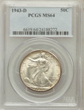 Walking Liberty Half Dollars: , 1943-D 50C MS64 PCGS. PCGS Population (1826/4833). NGC Census:(988/3410). Mintage: 11,346,000. Numismedia Wsl. Price for p...