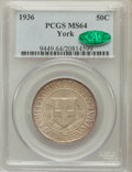 Commemorative Silver: , 1936 50C York MS64 PCGS. CAC. PCGS Population (1189/3909). NGCCensus: (455/2694). Mintage: 25,015. Numismedia Wsl. Price f...