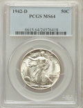 Walking Liberty Half Dollars: , 1942-D 50C MS64 PCGS. PCGS Population (2087/4033). NGC Census:(981/2547). Mintage: 10,973,800. Numismedia Wsl. Price for p...