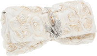 Judith Leiber White Rose Clutch with Crystal Butterfly
