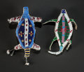 American Indian Art:Beadwork and Quillwork, TWO SIOUX BEADED HIDE FETISHES. c. 1890... (Total: 2 Items)
