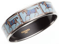 Luxury Accessories:Accessories, Hermes 70mm Light Blue & Brown Enamel Bangle Bracelet withSilver Hardware. ...