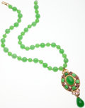 Luxury Accessories:Accessories, Chanel Rare Bright Green Gripoix Glass Signature Necklace. ...