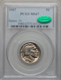 Buffalo Nickels: , 1937 5C MS67 PCGS. CAC. PCGS Population (310/5). NGC Census:(346/4). Mintage: 79,485,768. Numismedia Wsl. Price for proble...