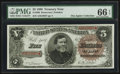Large Size:Treasury Notes, Fr. 360 $5 1890 Treasury Note PMG Gem Uncirculated 66 EPQ.. ...