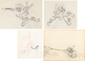 Animation Art:Production Drawing, Two-Gun Mickey Mickey Mouse Animation Production DrawingGroup (Walt Disney, 1934).... (Total: 4 Original Art)