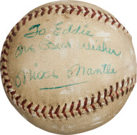 1956 Mickey Mantle Home Run Baseball That Nearly Escaped Yankee Stadium
